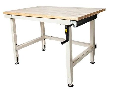 hand crank adjustable height industrial workbench craft tables rh pinterest com