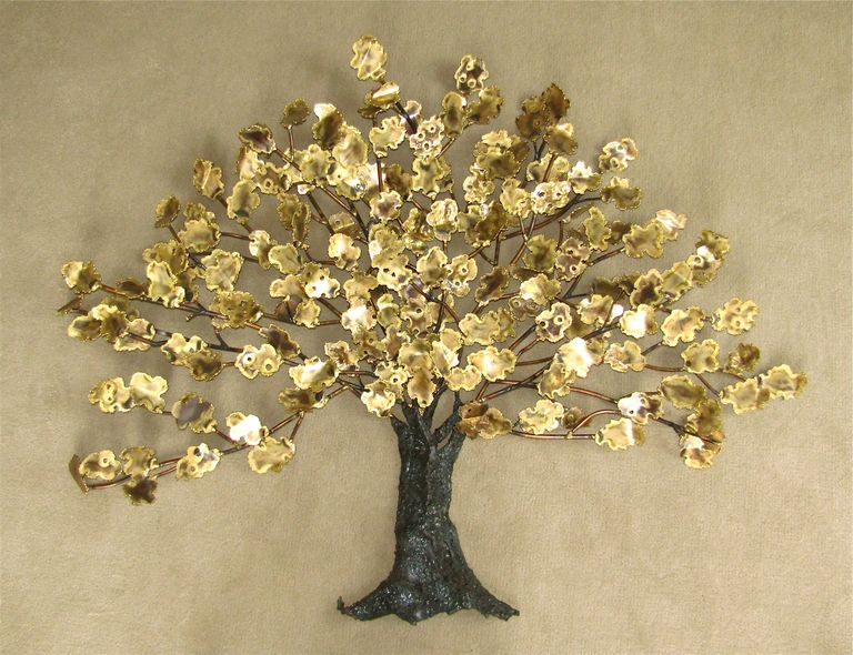 "Wall Art Sculpture huge modern brass ""tree of life"" wall art sculpture mid century"