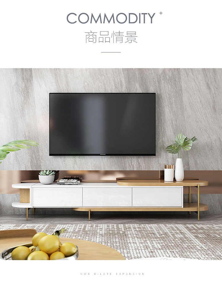 Source Luxury White Movable Tv Cabinet And Round Side Table Combination Nordic Minimalist Living R In 2020 With