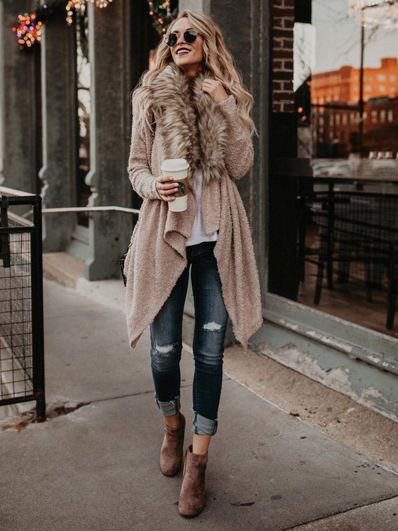 Casual Fur Collar Cardigan - XL / Khaki