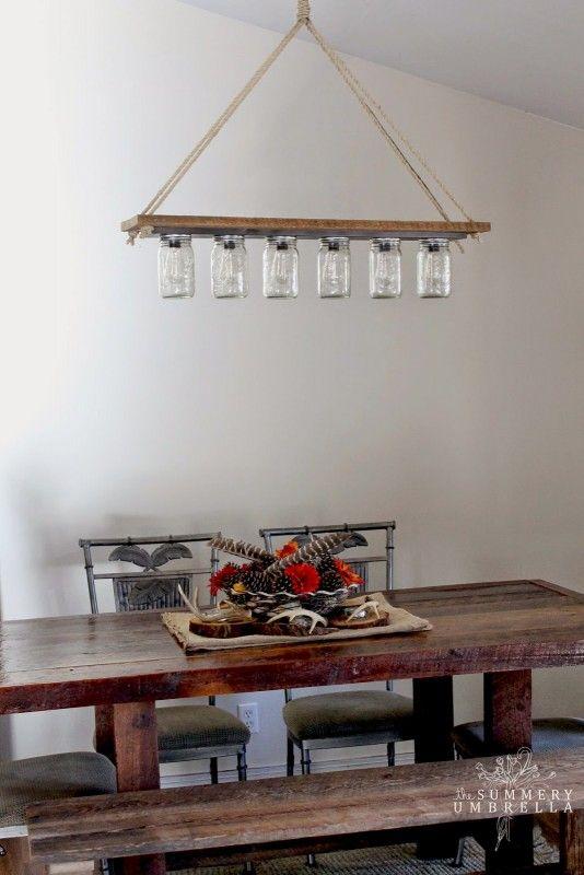 Rustic Mason Jar And Wood Hanging Chandelier Pendant Light DIY