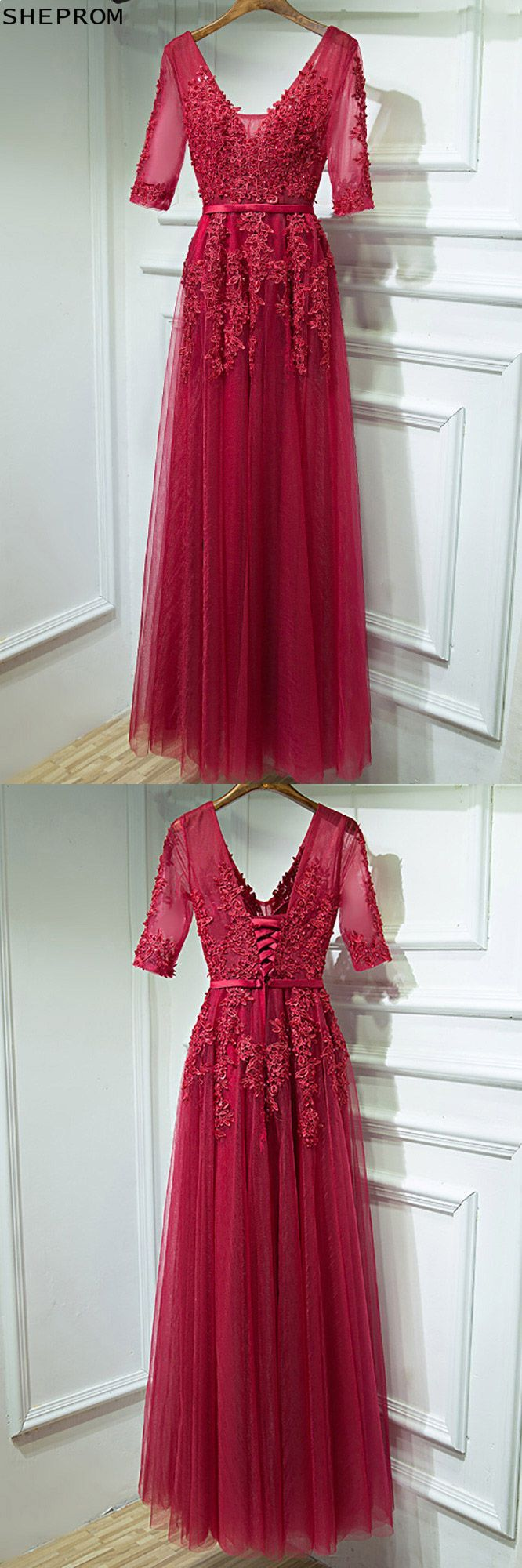 Burgundy vneck lace long party dress with half sleeves