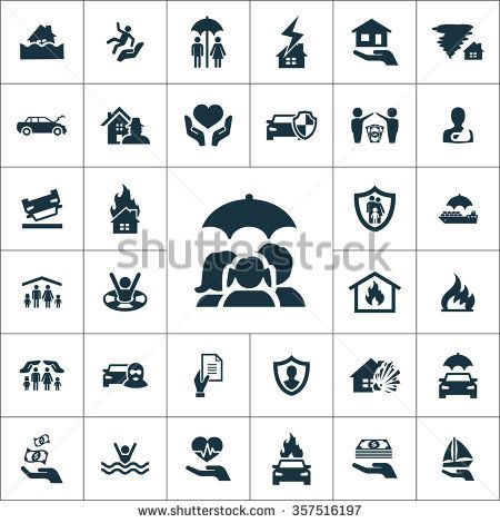 Insurance Icons Vector Set Insurance Icons Symbol Set Insurance