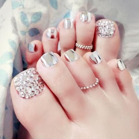 24 Pcs Metal Silver Charming Full Cover French 3d Toe Nails Bling