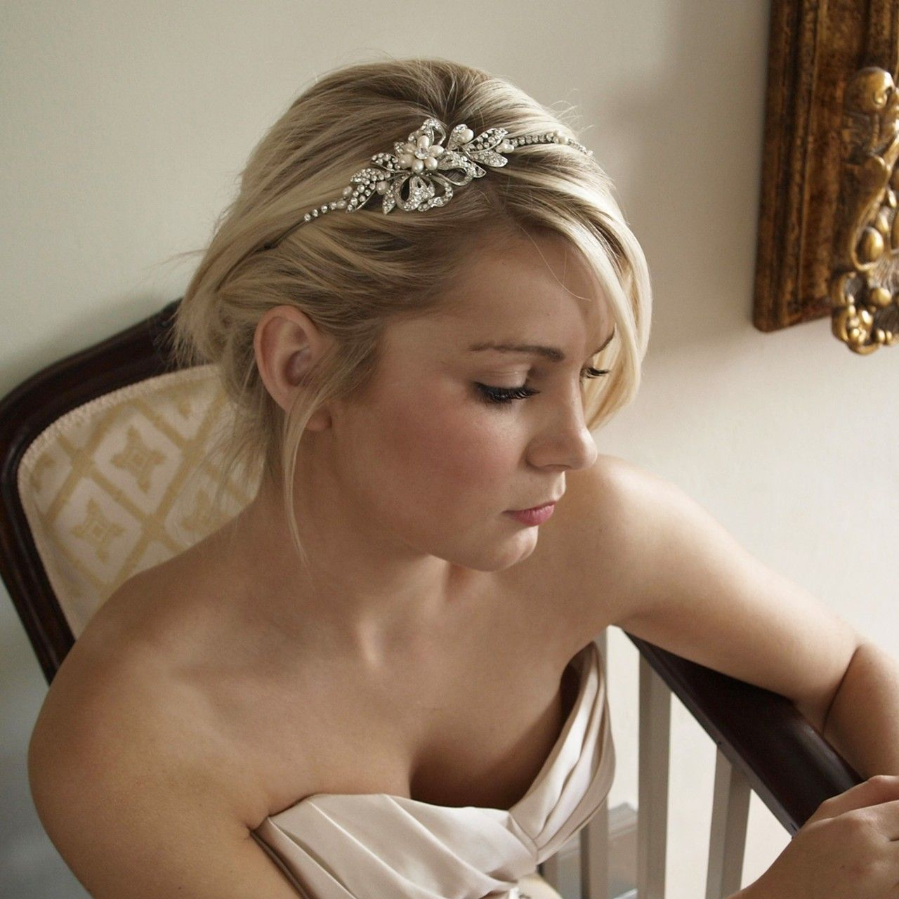 Diamante Pearl Flower Bridal Side Tiara Headband