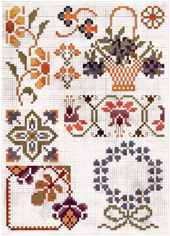 Free Vintage Cross Stitch Charts Priscilla Cross Stitch Floral