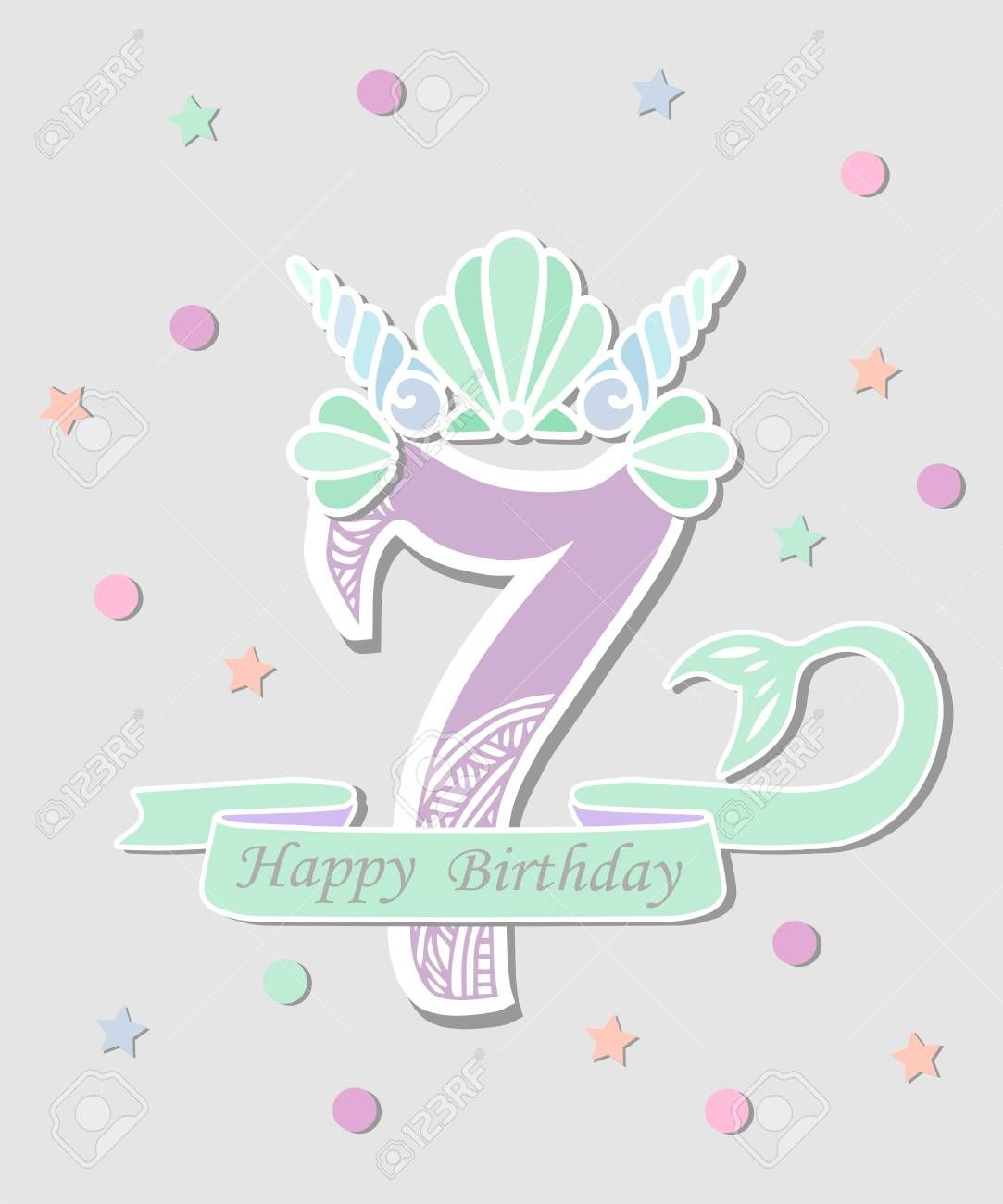 Vector illustration Number Seven with Mermaid tail and Shell Crown Template for Mermaid style birthday party invitation greeting card Cute Number Seven as logo patch stic...