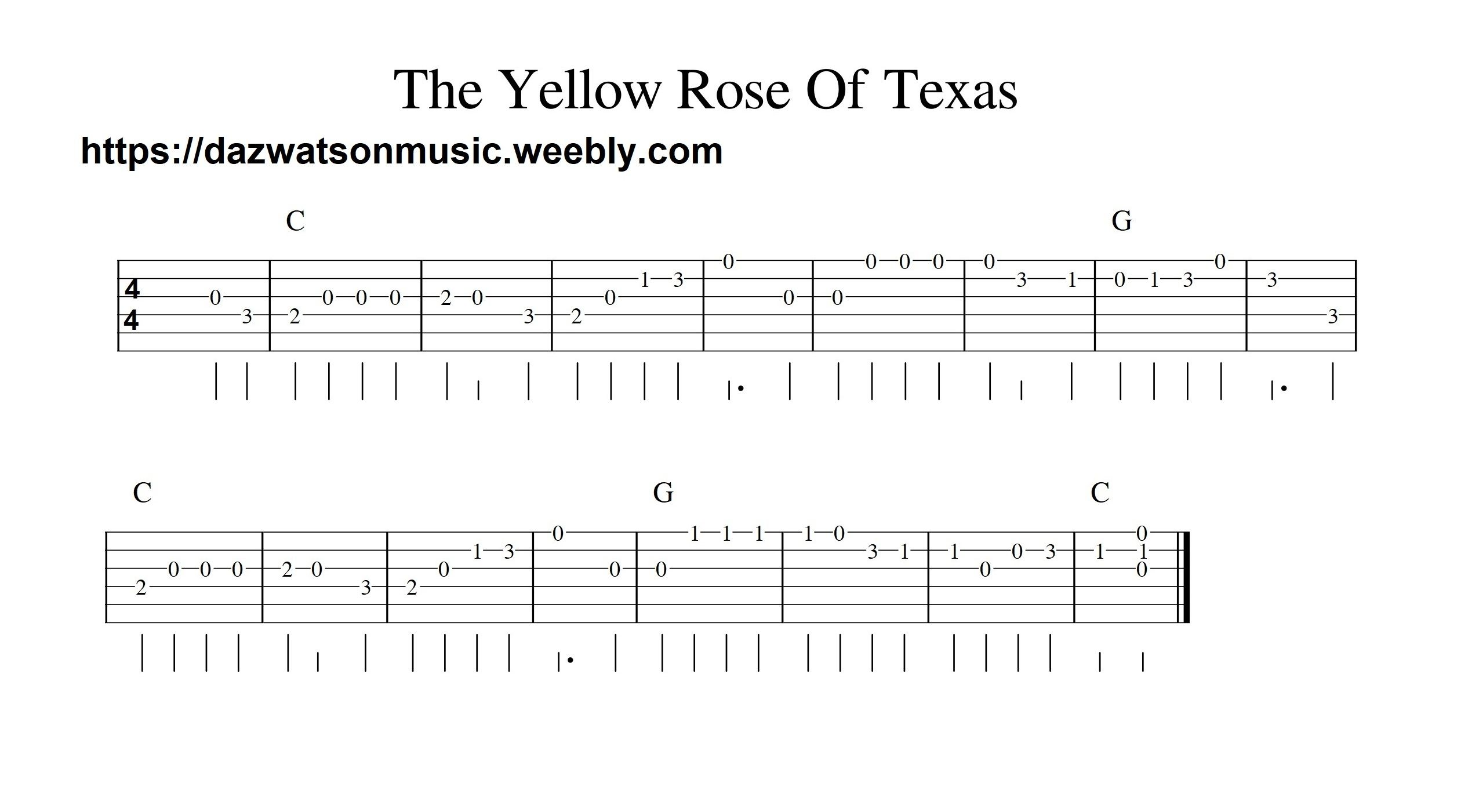 The Yellow Rose Of Texas Easy Guitar Tab Easy Guitar Easy Guitar Songs Acoustic Guitar