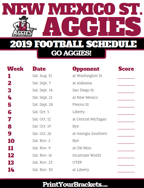 Printable New Mexico State Aggies Football Schedule Troy Trojans Football Trojans Football Aggie Football Schedule