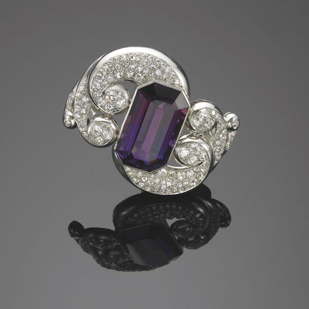 Vintage Belperron Tourbillon Clip - Amethyst and Diamond