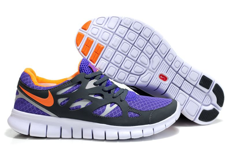 Womens Pure Purple Total Orange Anthracite Wolf Grey Nike Free Run 2 Shoes