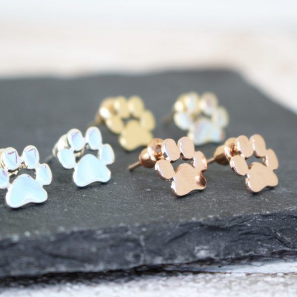 super cute paw print stud earrings. Available from Poppy Kitten Designs in your choice of gold plated, rose gold plated or silver plated