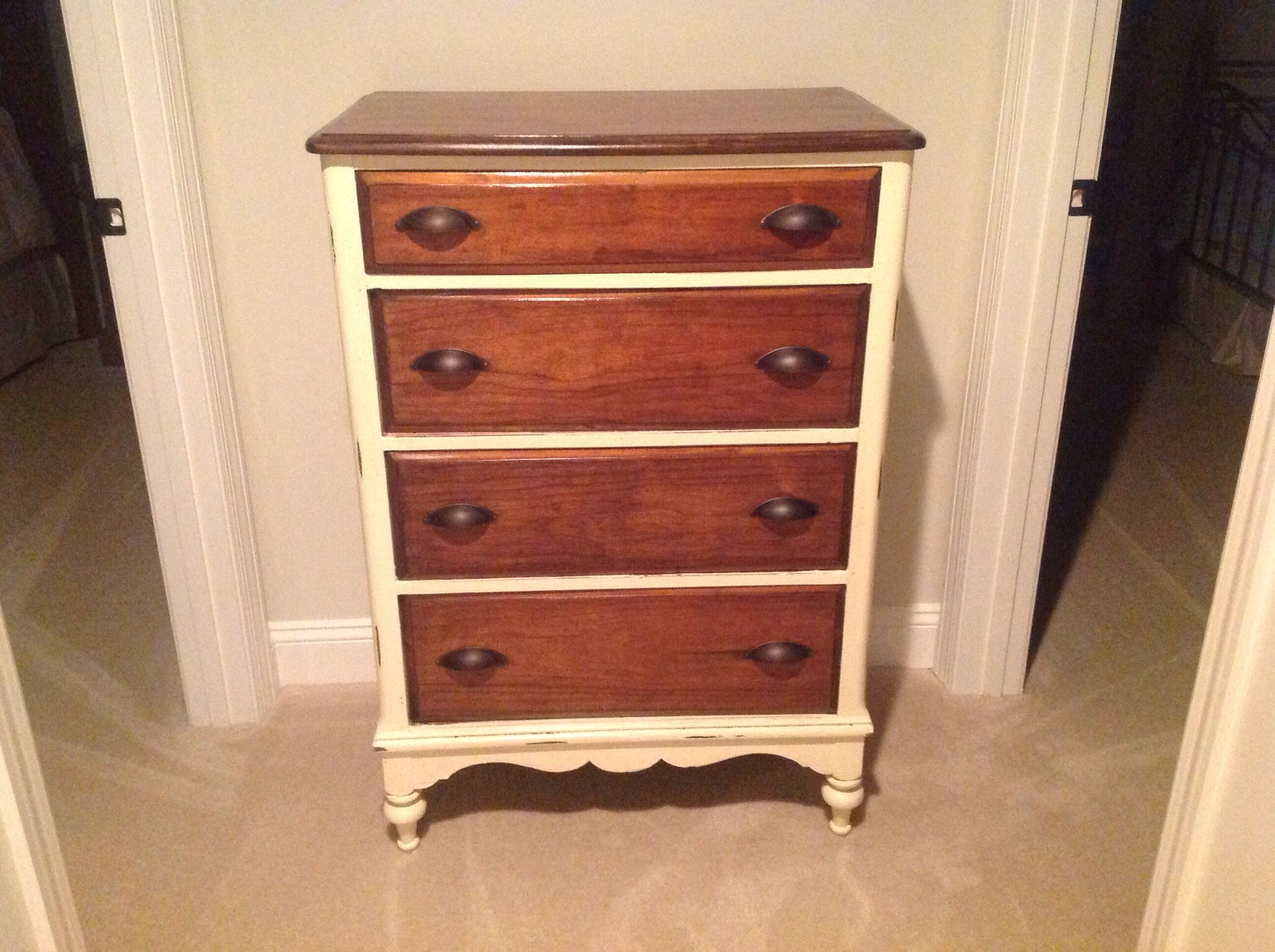 Refurbished Antique Dresser With Old White And Dark Walnut Stain With Poly  On Top And Drawers