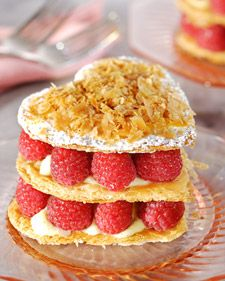 Heart-Shaped Raspberry Napoleons - Martha Stewart Recipes