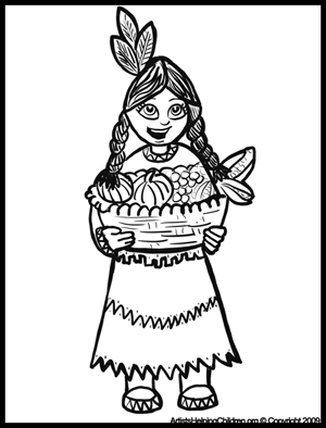 Thanksgiving Native American Indian Girl with Corn Coloring Pages &  Printouts