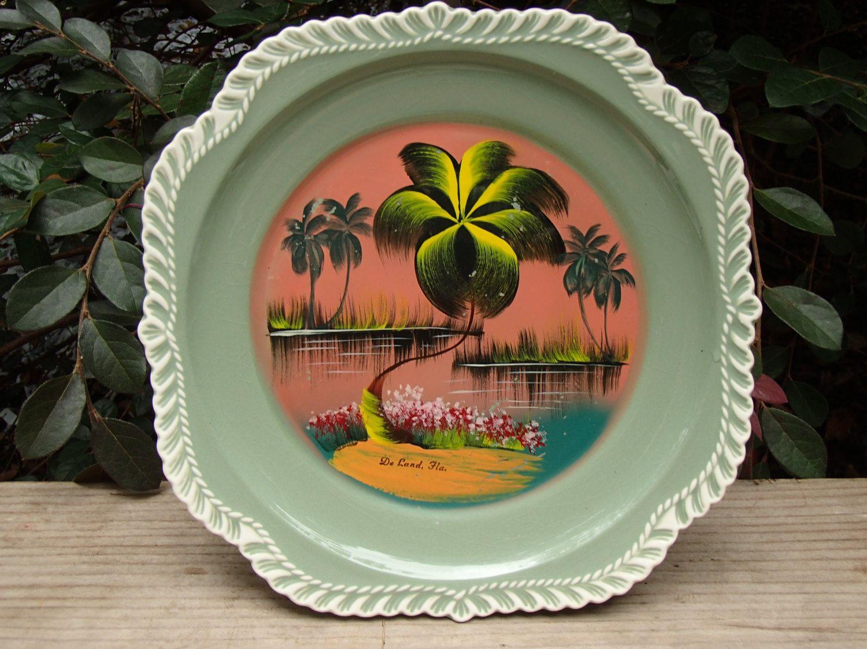 Harker Pottery Souvenir Florida Decorative Plate Deland Etsy Tree Designs Pottery Decorative Plates
