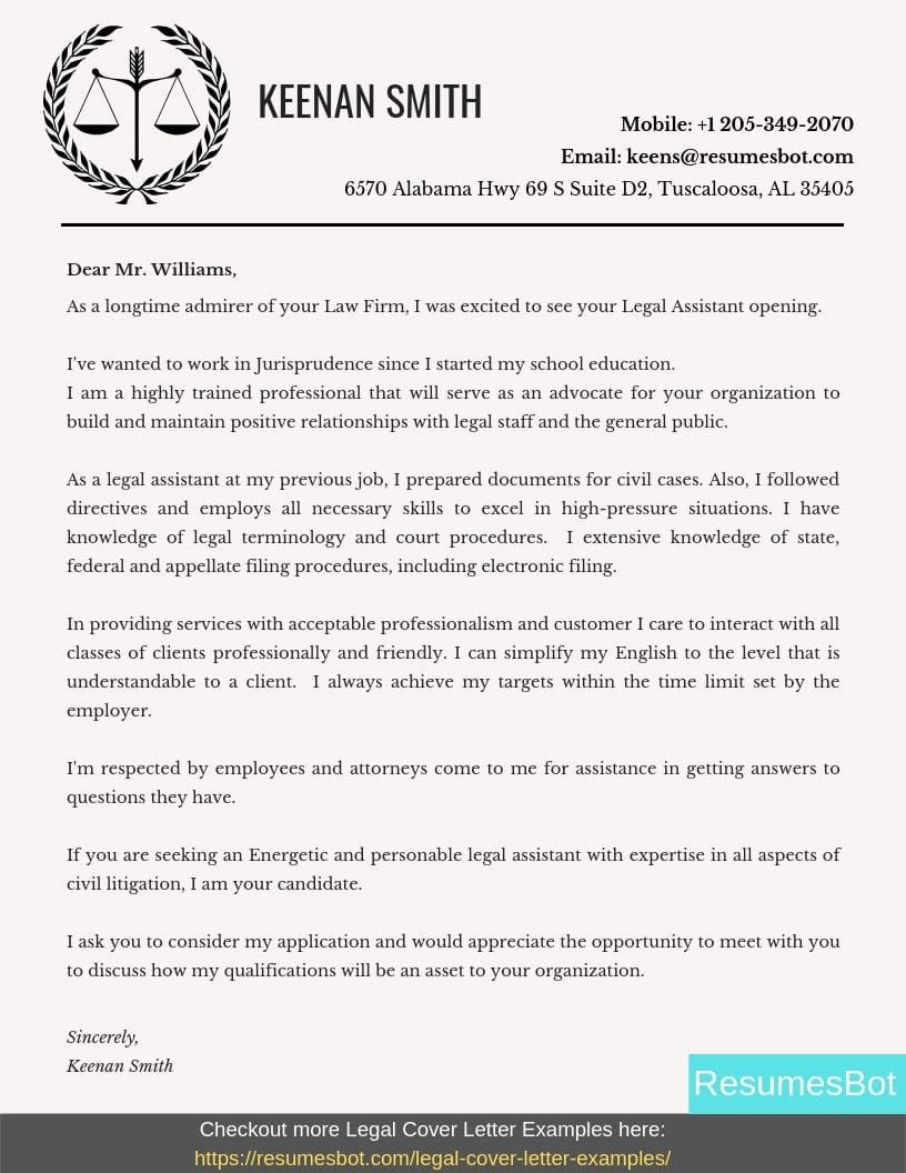 Legal Assistant Cover Letter Samples & Templates [PDF+Word