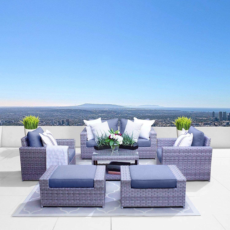 Sunhaven Resin Wicker Outdoor Patio Furniture Set 7 Piece