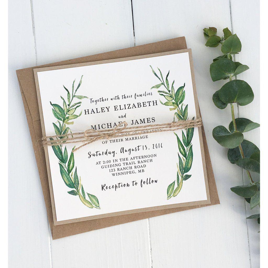 Rustic Wedding Invitation, Modern Greenery, Kraft | Greenery ...