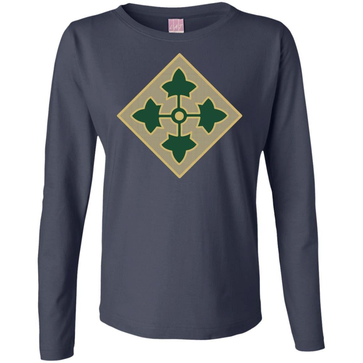 Army 4th Infantry Division Veteran Unit 1-01 Ladies' Long Sleeve Cotton TShirt