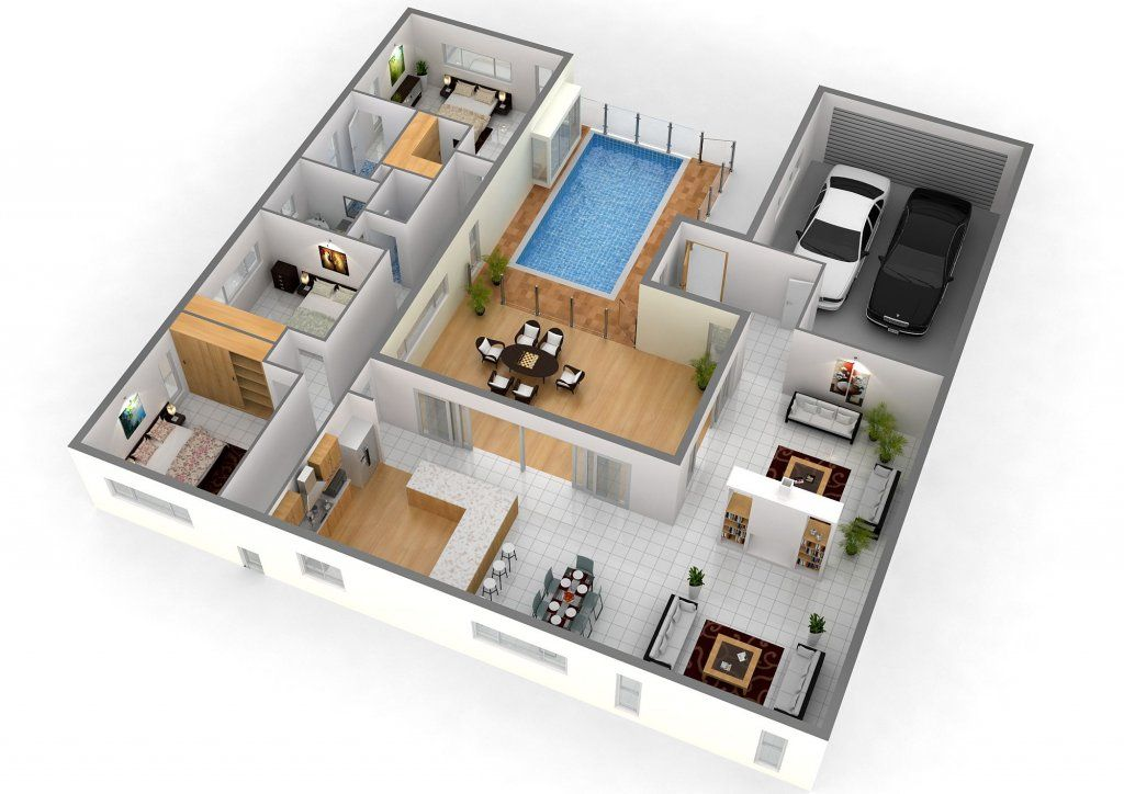 40 Amazing 3 Bedroom 3d Floor Plans Engineering Discoveries U Shaped House Plans Unique House Design Bedroom House Plans