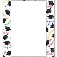 Graduation Hat Border Blank Card Invitation Graduation and