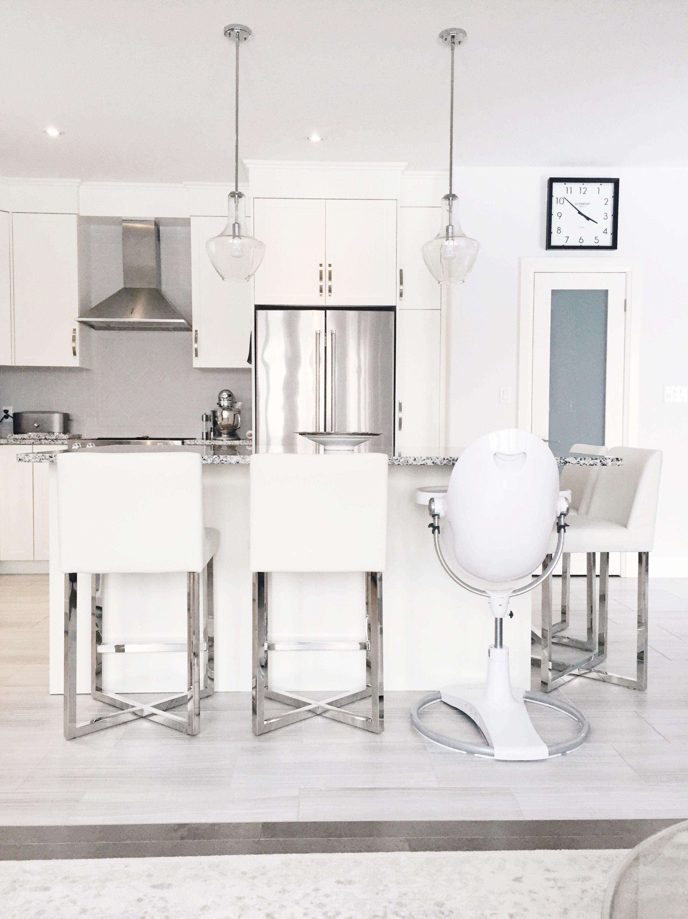 White Kitchen Modern Kitchen Bloom High Chair Fresco Bloom High Chair Grey And Wh Gray And White Kitchen Blue Chairs Living Room Hanging Chair From Ceiling