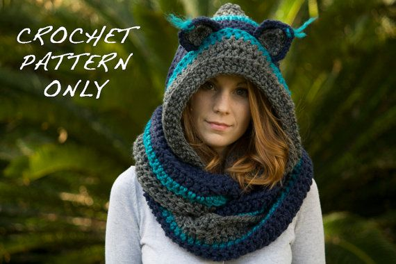 CROCHET PATTERN Cat Scarf, Scoodie, Hooded Scarf with Cat Ears ...