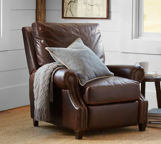 Dark Brown Leather Recliner Chair james leather recliner | pottery barn - top grain, down-wrapped