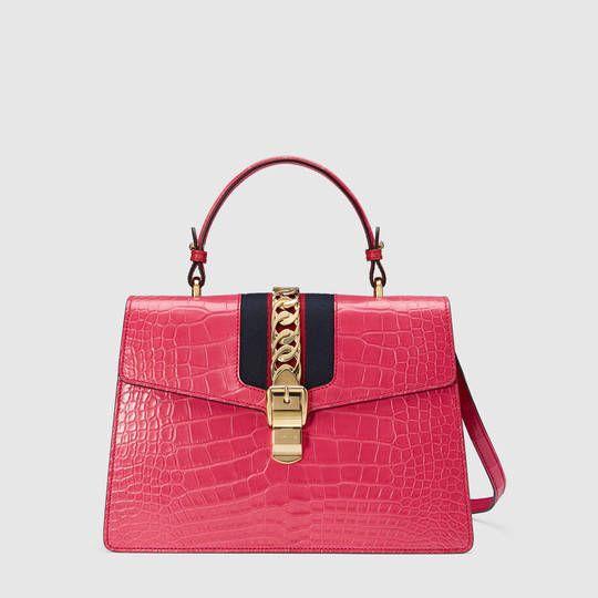 df031b2b89c Gucci Sylvie crocodile top handle bag
