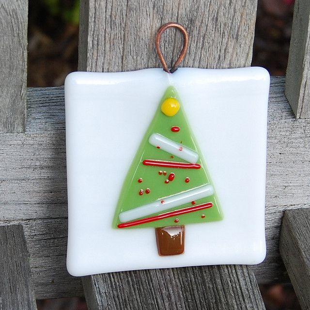 Christmas Tree Fused Glass Ornament