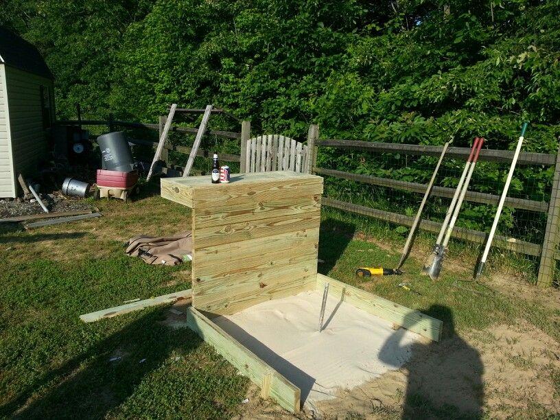Bar/ horseshoe pits | Backyard, Backyard games, Diy lawn