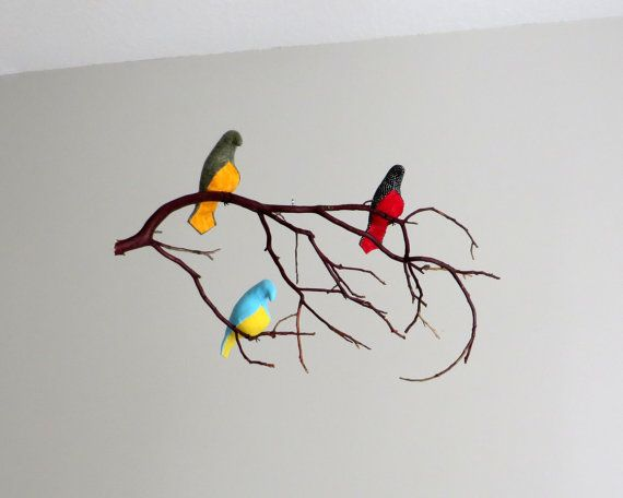 Mobili multicolor ~ Bird mobile multicolor or white fabric birds on by sewnbuddies