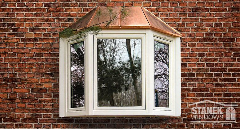 White Bay Window With Copper Roof And Casement End Vents Learn More Bay Window Bow Window Bay Window Exterior