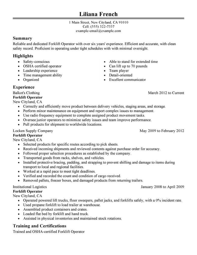 best forklift operator resume example