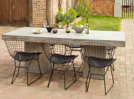 Early Settler - concrete table with wire chairs | Concrete ...