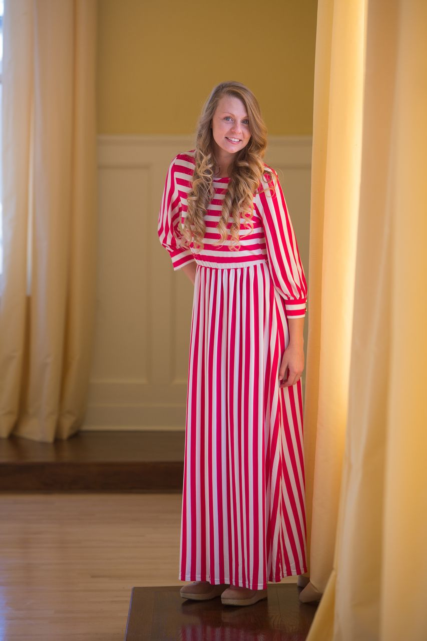 Striped Maxi Dress: Now available in hot pink! Shop modest styles at ...