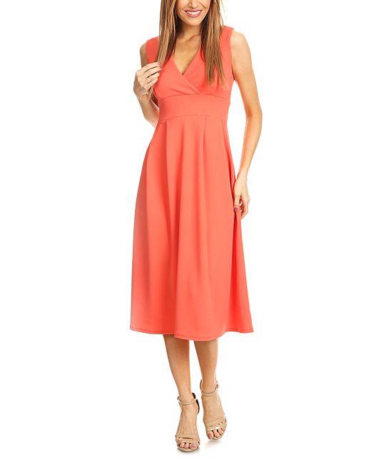 165f1081c7d Coral Surplice Midi Dress
