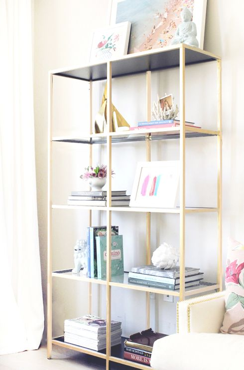 Weekend DIY : Ikea Bookshelf - Krylon Metallic paint in Bright Gold topped with gold leaf paint
