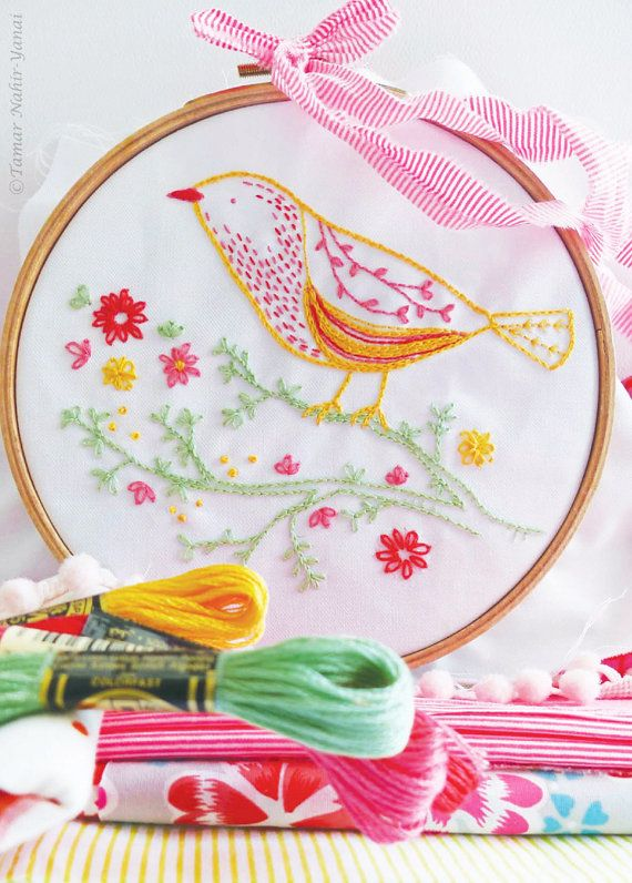 Yellow Bird Embroidery design can be appliqued to a pillow cover
