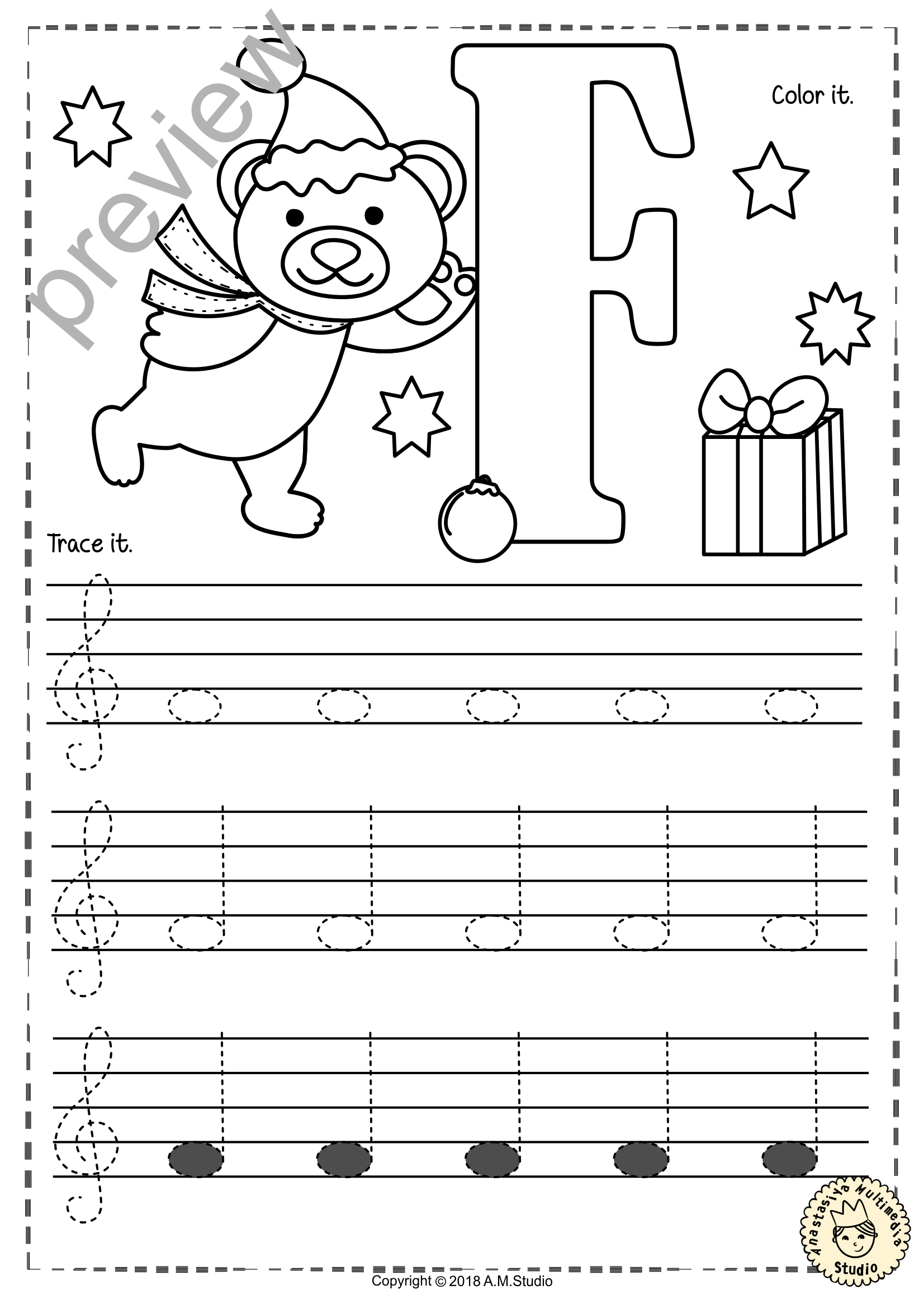 Treble Clef Tracing Music Notes Worksheets For Winter And