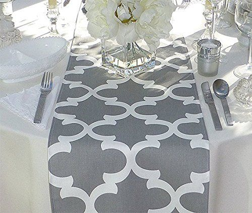 Grey And White Unlined Table Runner 12 X 72 Fabric Table Runner Handmade Table Runner Table Runners