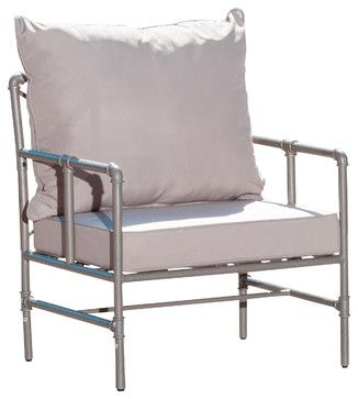 Tallahassee Outdoor Pipe Grey Armchair   Contemporary   Outdoor Chairs    Great Deal Furniture