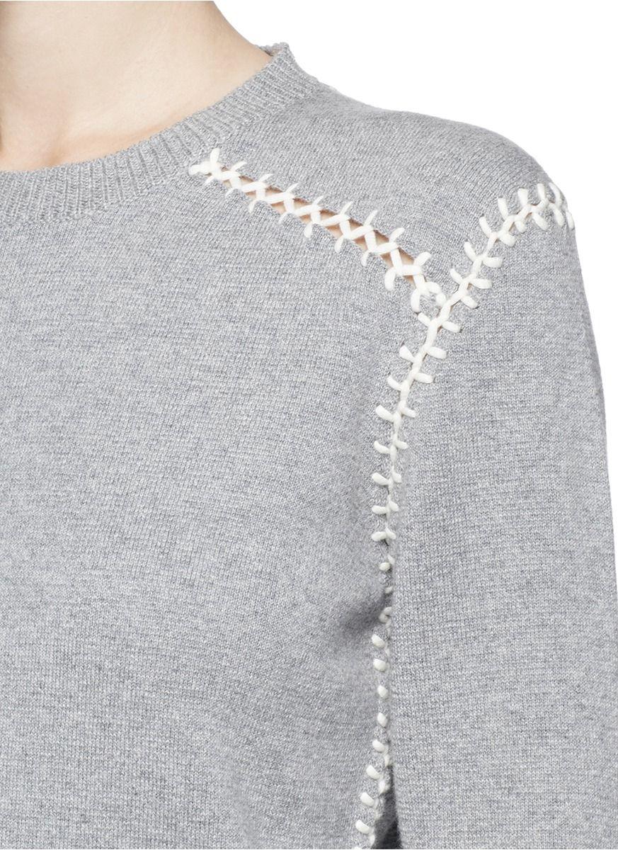 57bf3f1ef6e1 Chloé Blanket Stitch Cashmere Cotton Sweater in Gray (Grey)