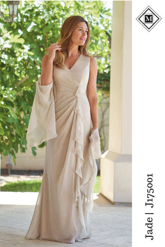 37349098c72 Pretty jade tiffany chiffon with stretch lining Mother of the Bride dress  with a flattering V