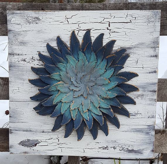Metal Wall Flower reclaimed wood wall art, metal wall art, metal flower wall art