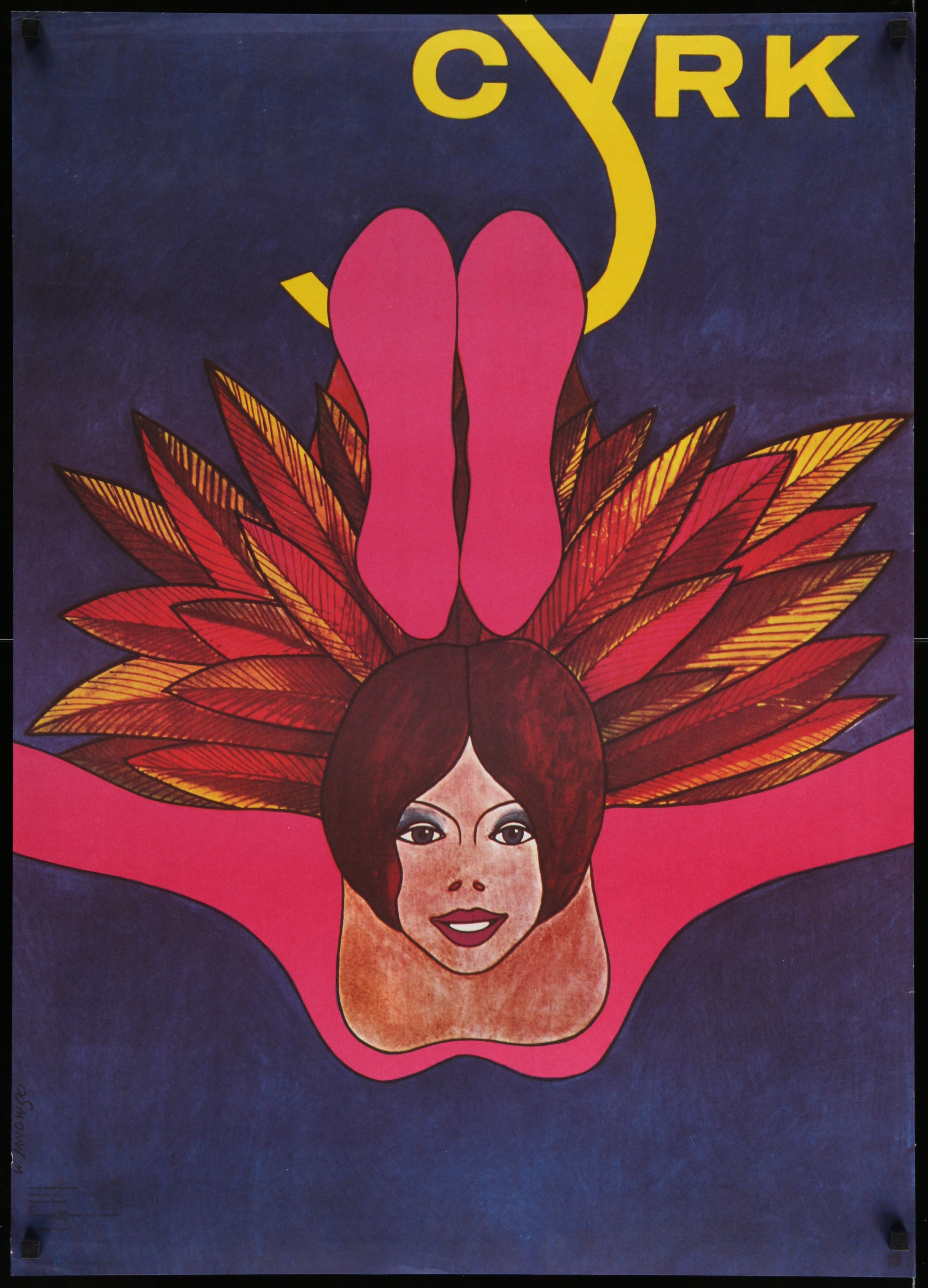Cyrk Polish Circus Poster 26x36 70s Really Different Art Of Woman With Feathers By Witold Janowski Polish Posters Circus Poster Vintage Poster Art