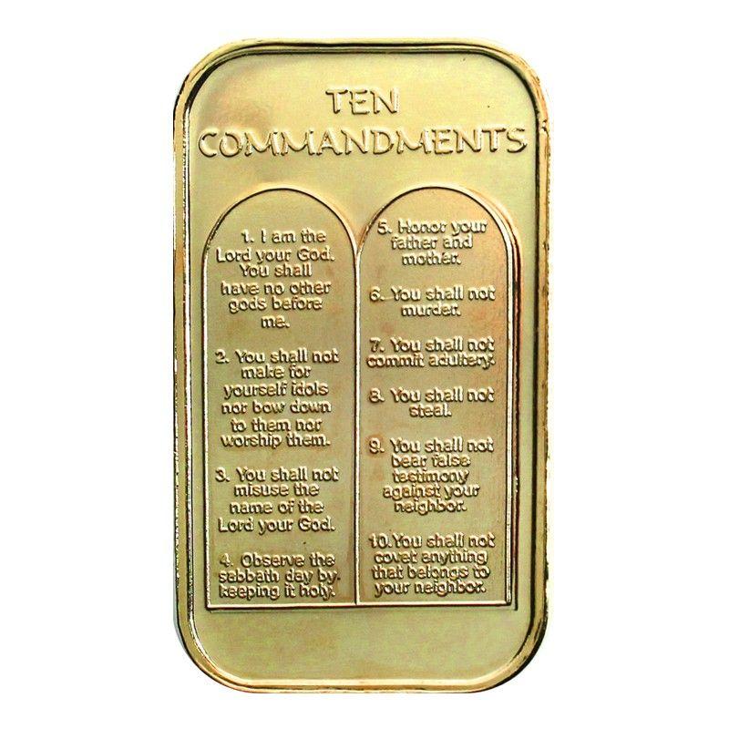 Ten Commandments 1oz 999 Silver Bar Gold Plated Silver