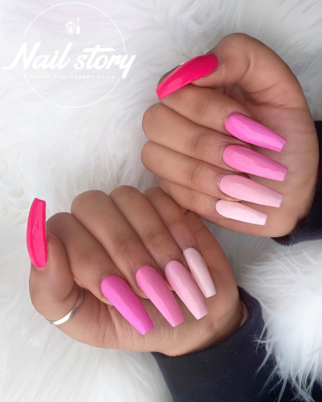 50 Shades Of Pink Gradient Pink Color Schemed Coffin Nails Nails Des Arylic Nails Pink Acrylic Nails Pink Nails