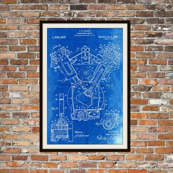Blueprint art of patent hydrocarbon motor 1922 technical drawings blueprint art of patent hydrocarbon motor 1922 technical drawings engineering drawings patent blue print art item malvernweather Images